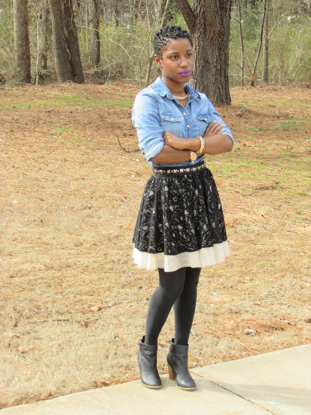 Collegiate Chic In Tulle Lace & Denim